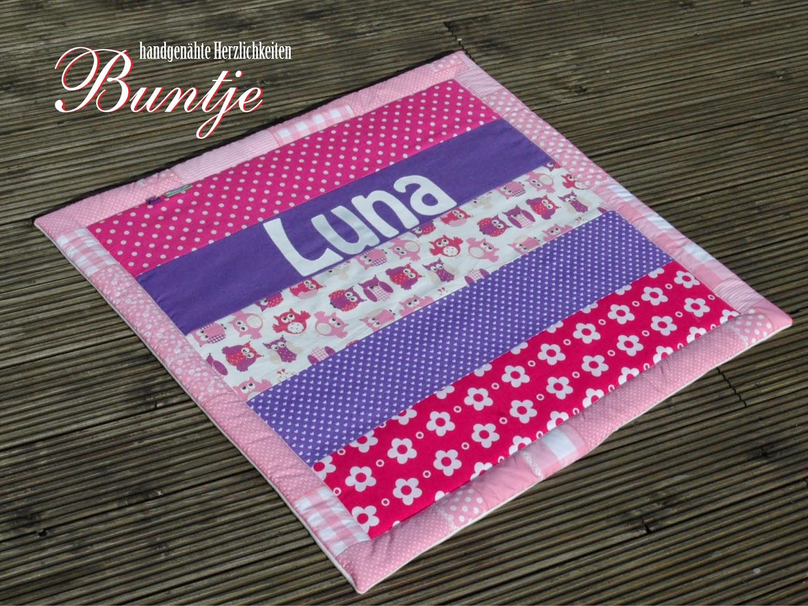 Krabbeldecke Kuscheldecke Decke Baby Name Geschenk Geburt Taufe Mädchen Eulen rosa pink lila lieder Luna Fleece Baumwolle Buntje nähen