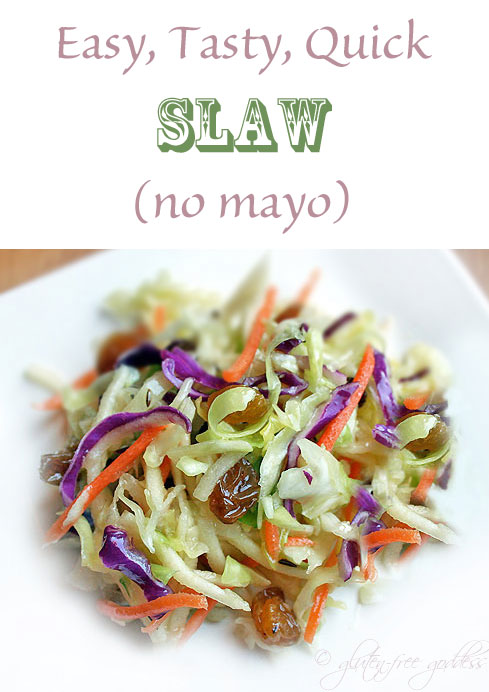 Easy, Tasty, Quick Slaw (no mayo) from Karina Gluten-Free Goddess #vegan