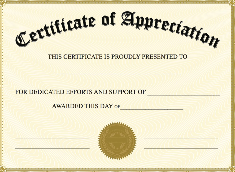 Certificate Of Appreciation Template Powerpoint  Microsoft Word Certificate Templates