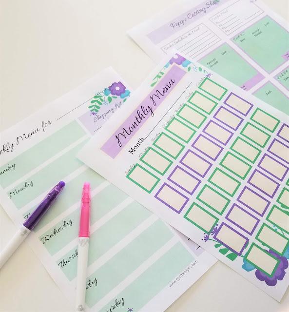 Free Menu Planner Printable