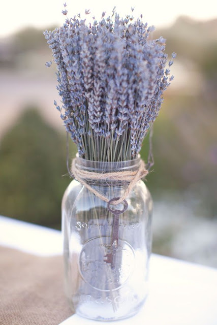 Mason jar with fresh lavender