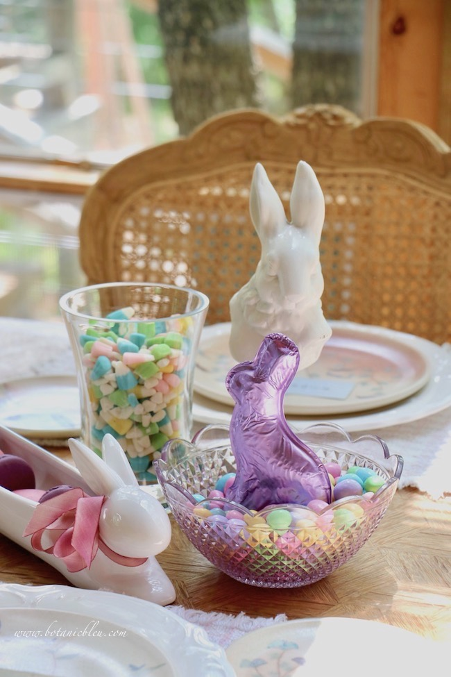 Easter candy treats as dessert table centerpiece