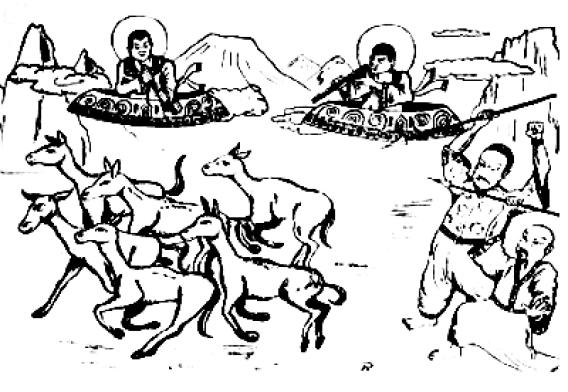 """Réplica de la misteriosa pintura en China que representa seres en """"Platillos voladores"""". Se puede ver que aquellos dos seres poseen unas especies de halos en las cabezas, ¿o cascos?"""