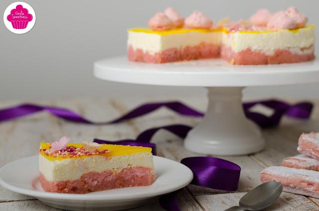 Entremet au citron sur une base de biscuits roses de Reims – décoration printanière