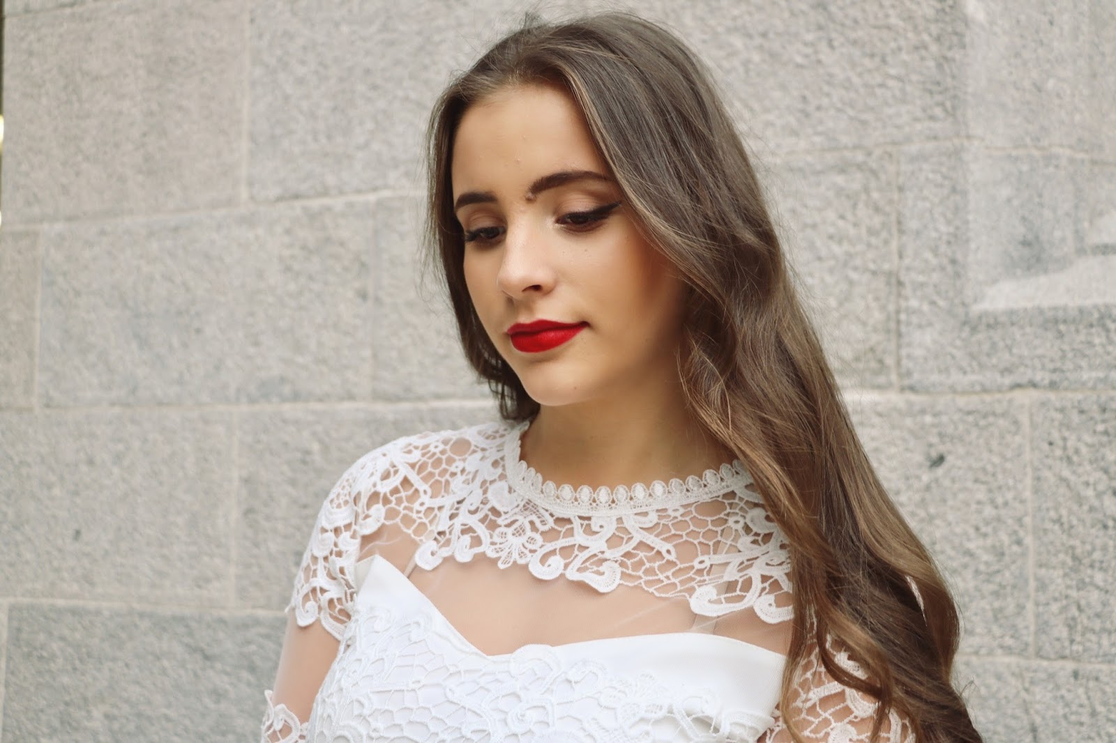 White Lace and Red Lips Holiday Fashion