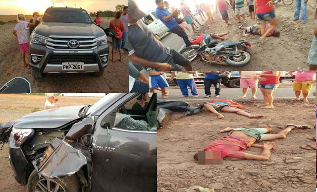 Colisão entre moto e carro mata uma pessoa e deixa outra gravemente ferida, próximo a Brejo MA