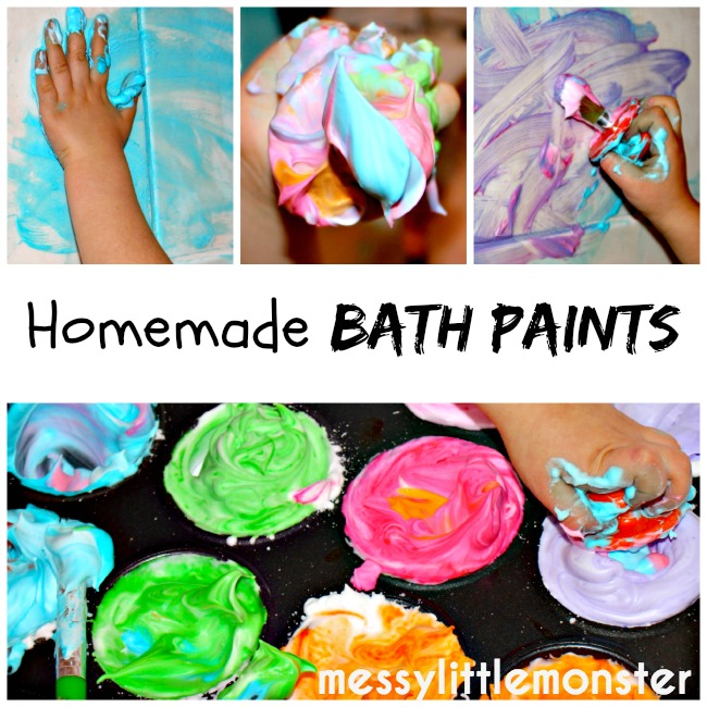 simple homemade bath paint recipe using 2 ingredients.  A fun process art technique for kids.