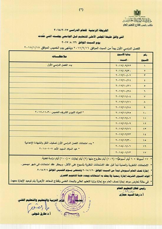 موعد امتحانات الفصل الدراسي الأول لصفوف النقل والشهادة الأعدادية 2018
