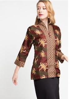 Model Baju Batik Kerja Lengan Panjang