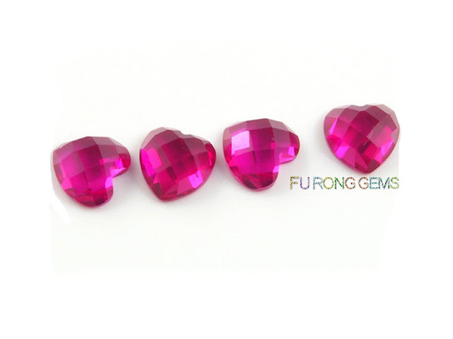 checkerboard-heart-shape-faceted-Synthetic-Pink-sapphire-stones-wholsale
