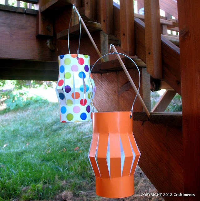 Craftiments.com:  Paper Lanterns on a Stick