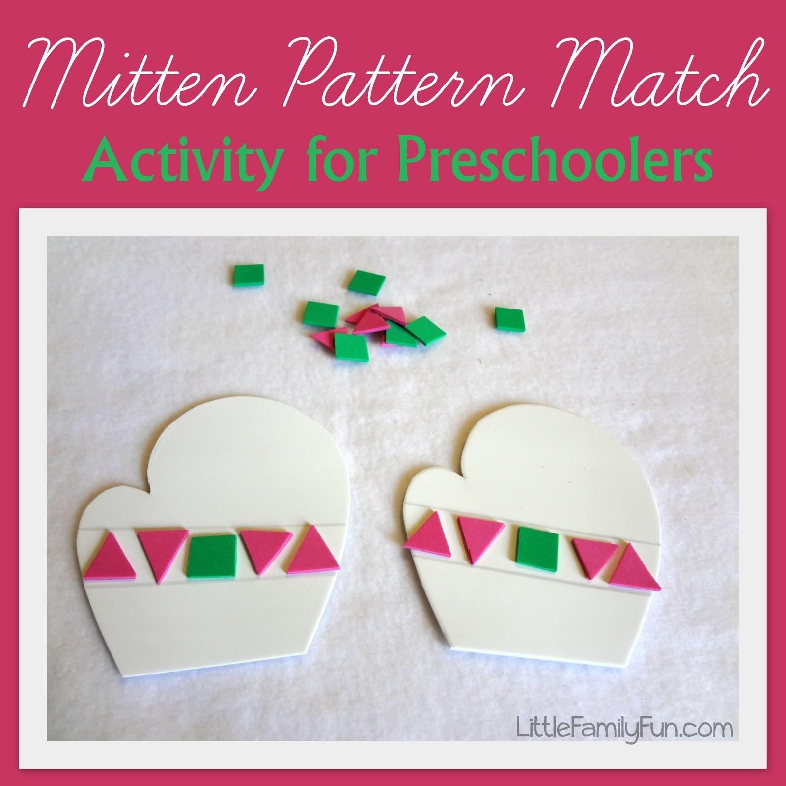 Little Family Fun Mitten Pattern Match Activity For