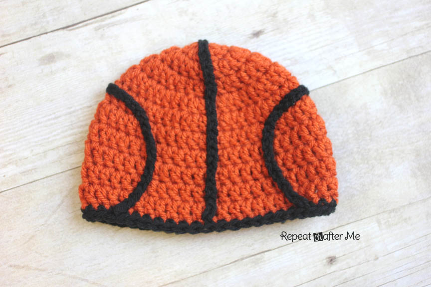 8730f3ef07e Crochet Basketball Hat Pattern - Repeat Crafter Me