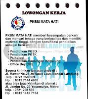 Loker Lampung Terbaru di PKBM Mata Hati Bandar Lampung September 2016