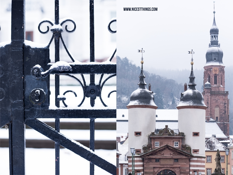 Alte Brücke Heidelberg im Schnee