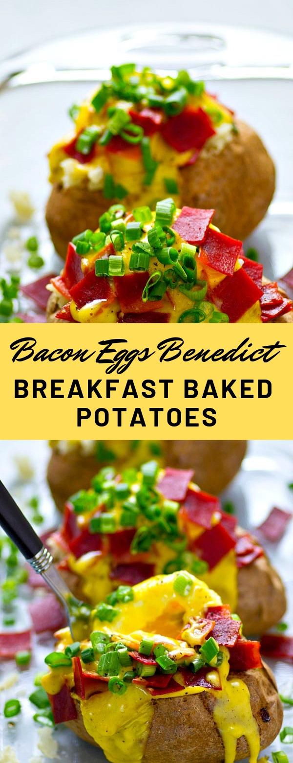 Bacon Eggs Benedict Breakfast Baked Potatoes #breakfast #bacon #potato
