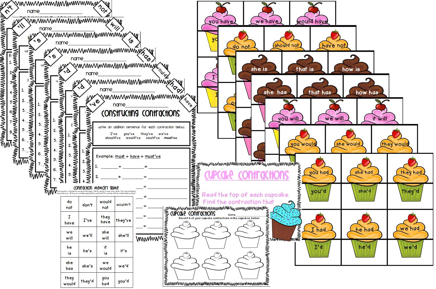 Contractions Worksheet Game
