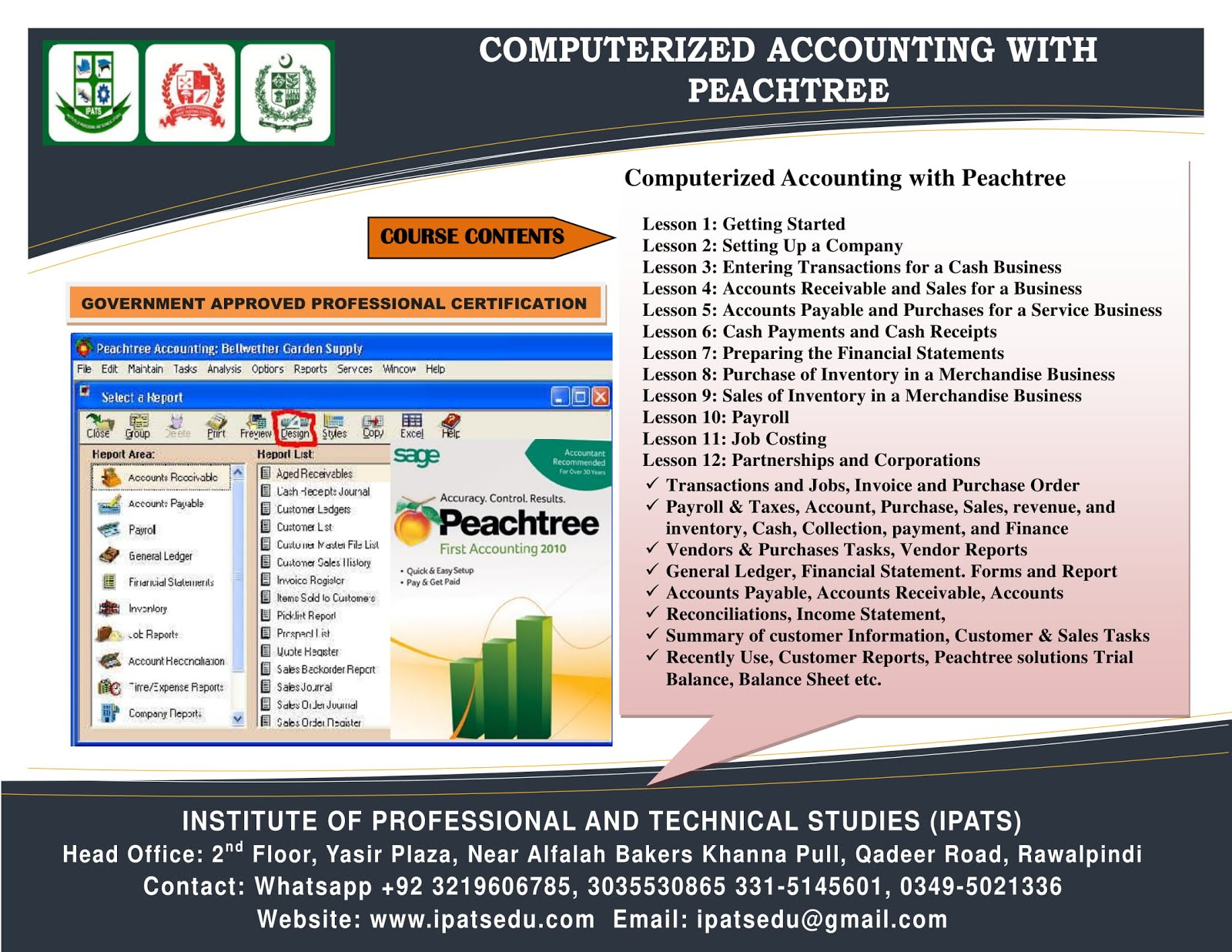 Peachtree & Tally ERP 9 Accounting Islamabad 3035530865
