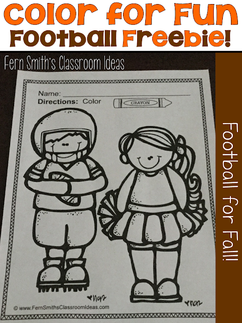 "Fall Football Coloring Pages Four coloring pages for some Fall Football Fun for your classroom! Your students can pick any colors for their uniforms,footballs and pom-poms! Love the Gators, Orange and Blue all the way! Are they a big FSU fans, Garnet and Gold baby! :) This football coloring pages freebies makes a terrific bulletin board with the theme ""Our Team is Ready for a New School Year!"" Your students and parents will love it!"