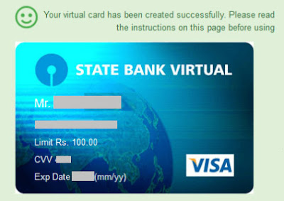 how to generate sbi virtual card online