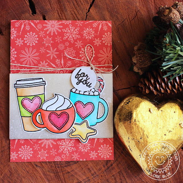 Sunny Studio Stamps: Mug Hugs Christmas Card by Eloise Blue