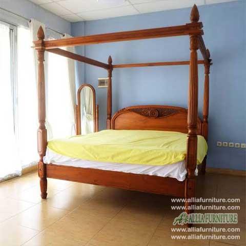 tempat tidur jati kanopi ukiran matahari