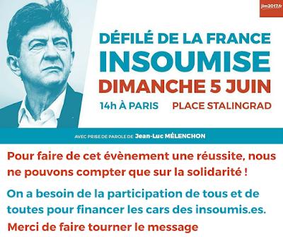 Défilé de la France insoumise à Paris le 5 juin
