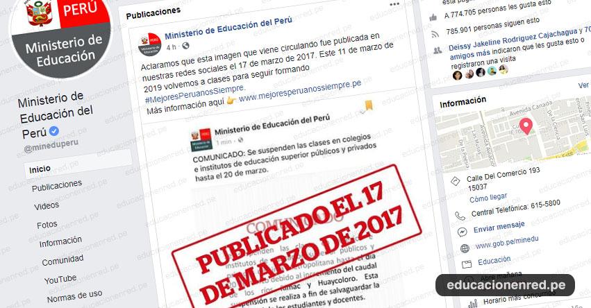 MINEDU advierte que información en redes sociales sobre suspensión de clases hasta el 20 de marzo corresponde al año 2017