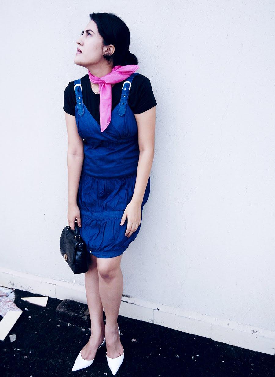 Zara Top, denim Dress, Zara White kitten Heel,Zara Bag,pink Scarf Diy