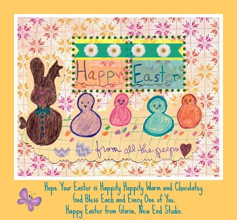 rabbit ears, colorful peeps, and Easter greeting