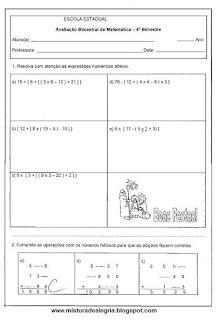 Avaliação de matemática para 5º ano