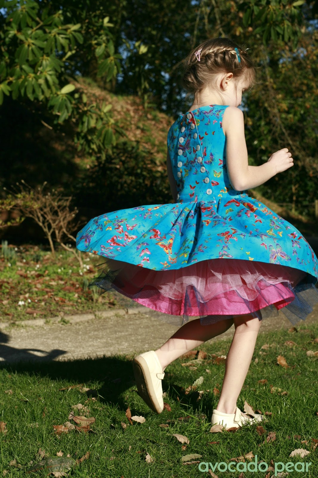 party dress spinning over pink petticoat