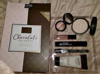 haul CHOCOLATE DELIGHTS primer, eyeshadow duo, lipgloss, dual-ended brush, mascara, foundation