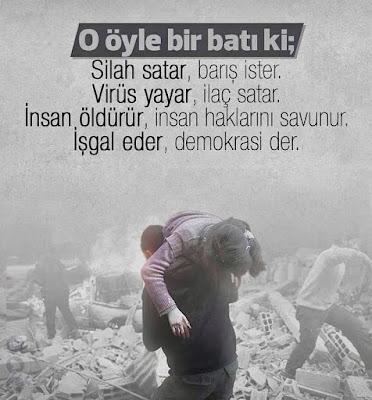 o öyle bir batı ki, silah satar, barış ister, virüs satar, ilaç ister, bombalanan şehir, patlama, bomba, sivil katliamı, bombardıman, işgal, demokrasi,