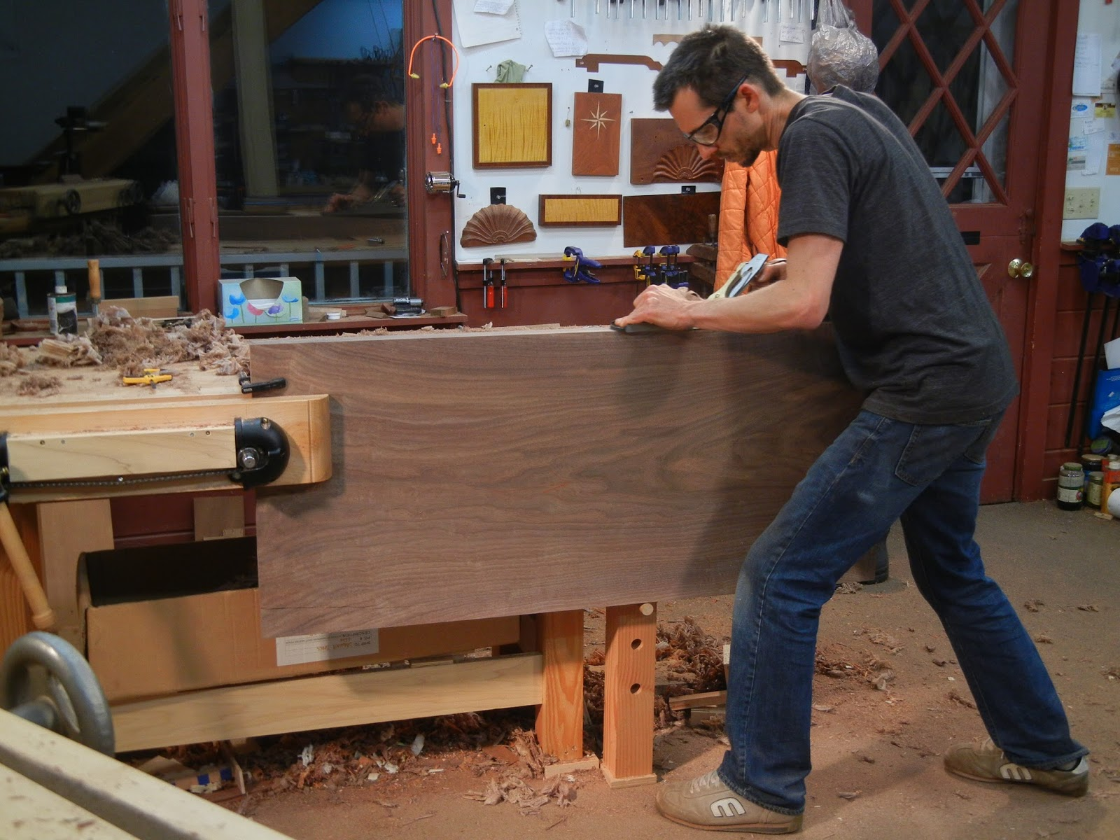 Hand planing a walnut top
