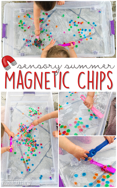 This summer fill your sensory bin with magnetic bingo chips, water and get ready for lots of fun and exploration! This is the perfect outdoor activity for summer tot school, preschool, or kindergarten!