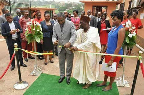 Cameroonian minister commissions ATM machine (Photos)