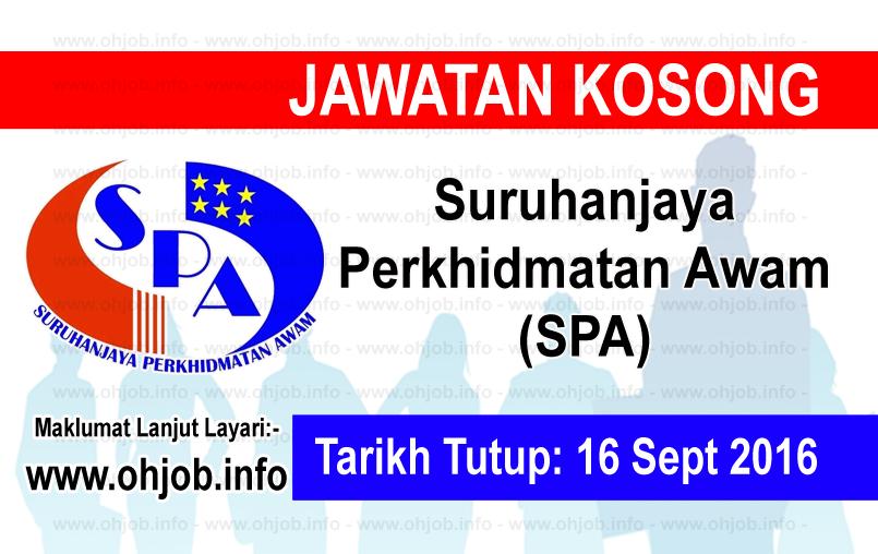 Jawatan Kerja Kosong Suruhanjaya Perkhidmatan Awam (SPA) logo www.ohjob.info september 2016
