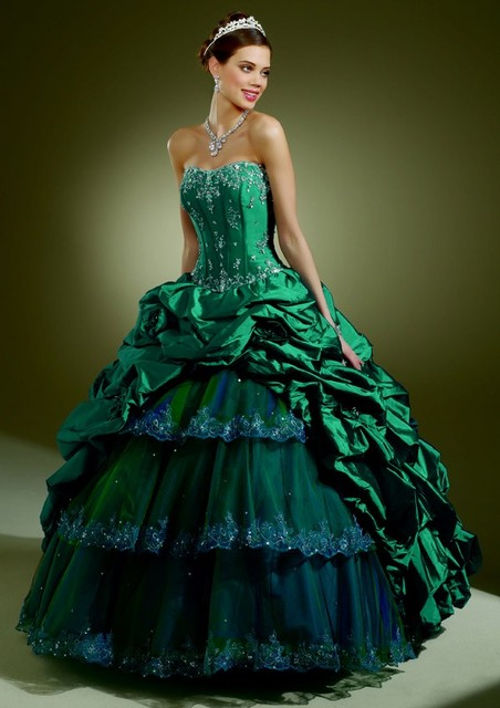 World Of Fashion: Teal Green Peacock-Inspired Wedding Dress