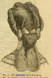 """Waterfall Coiffure"", Godey's, September 1863"