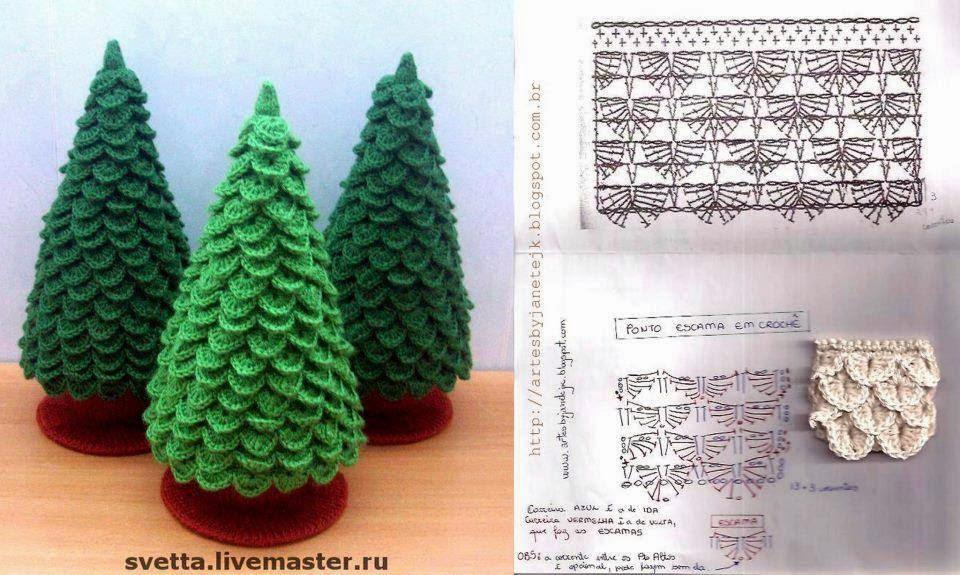 Pino para navidad en punto escama crochet todo crochet for Cesta arbol navidad