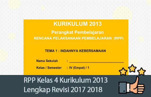 RPP Kelas 4 Kurikulum 2013 Lengkap Revisi 2017 2018 [DOC]
