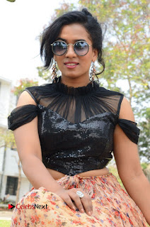 Actress Chetana Uttej Stills in Floral Long Skirt at Pichiga Nachav Movie Press Meet  0075.JPG