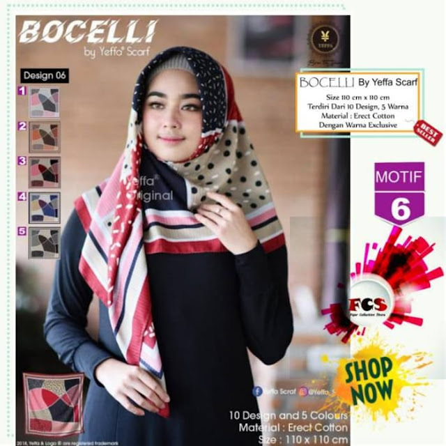 Jilbab Segi Empat Bocelli Motif 6 by Yeffa Scarf Murah Terbaru