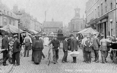 Market day in Brigg circa 1905/6 as featured in the local history book - see Nigel Fisher's Brigg Blog