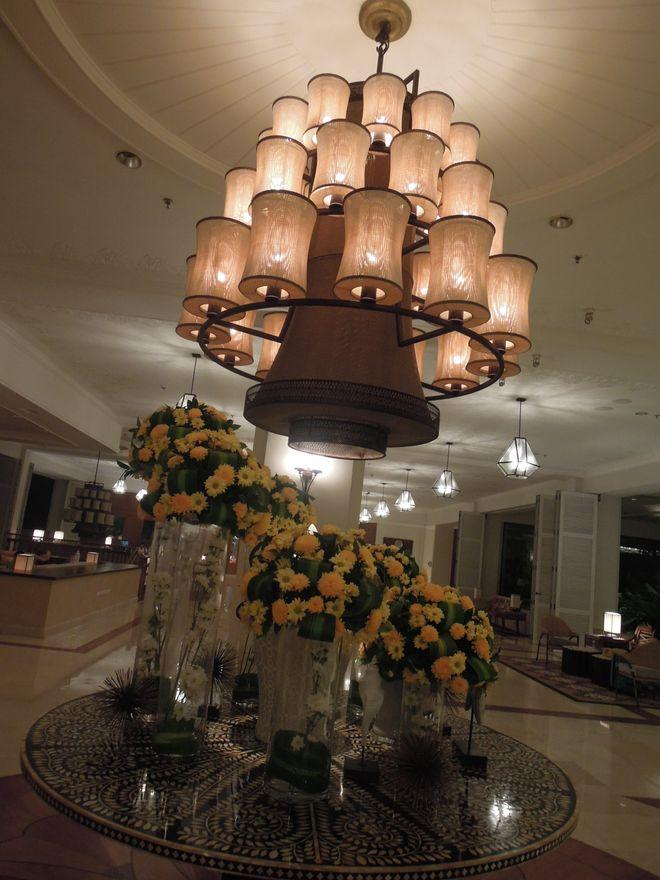 Chandelier and decorations at the lobby of Shangri-La's Mactan Resort and Spa
