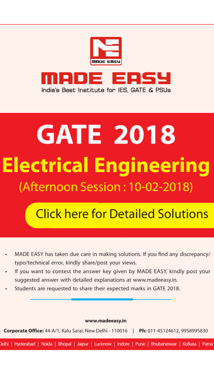 GATE EE 2018 DETAILED SOLUTION BY MADE EASY