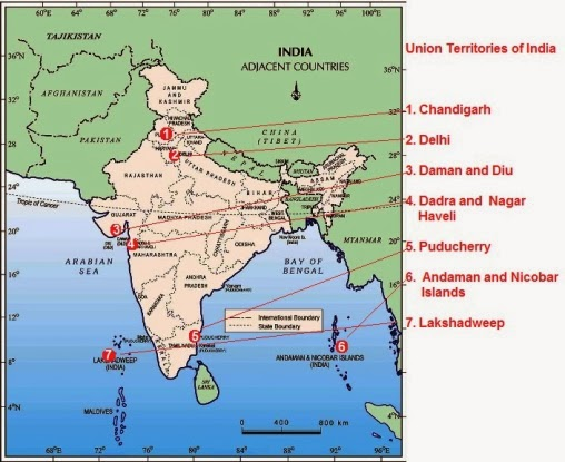 The Union Territories of India - Map