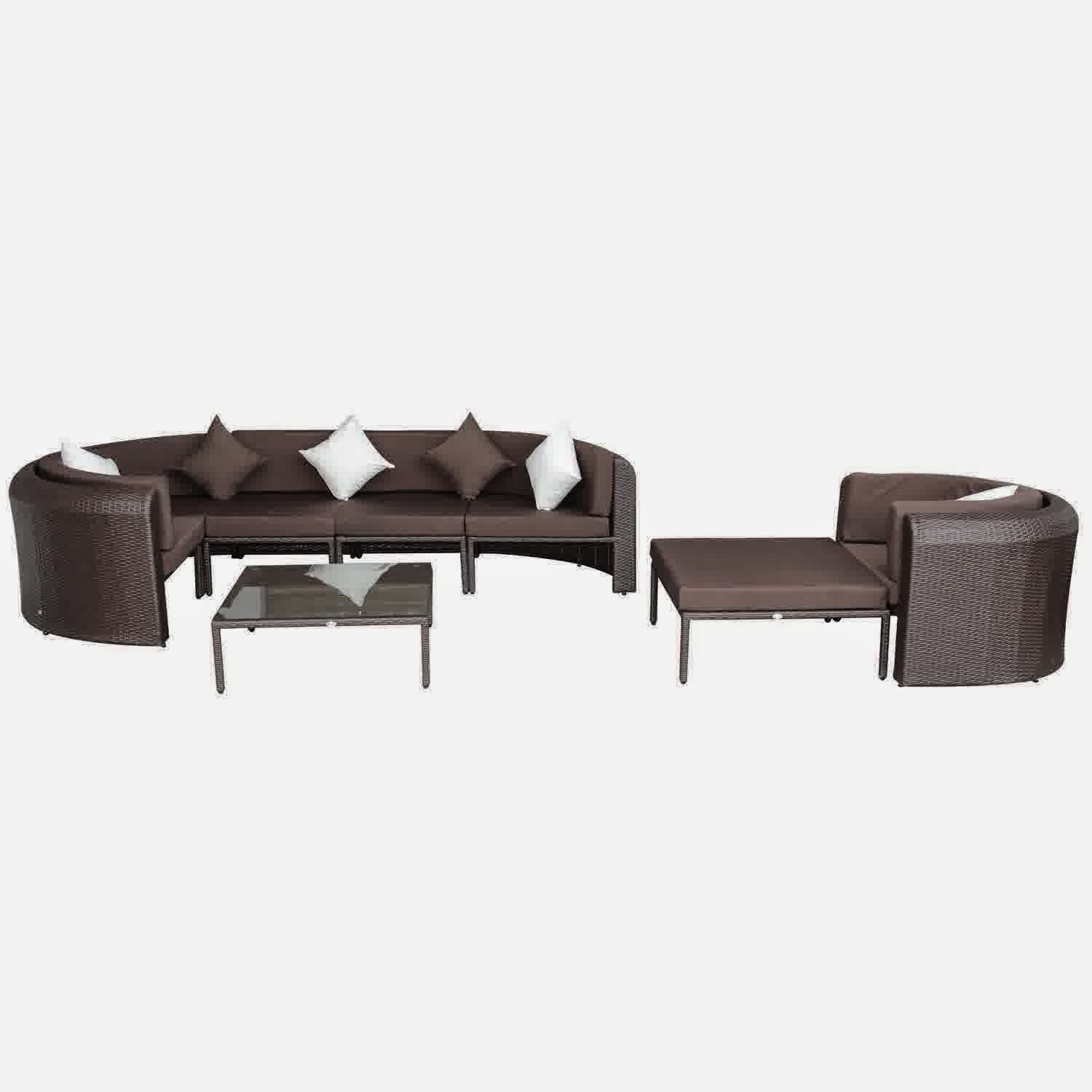 Outdoor PE Rattan Wicker Half Moon Sectional Sofa Furniture Set