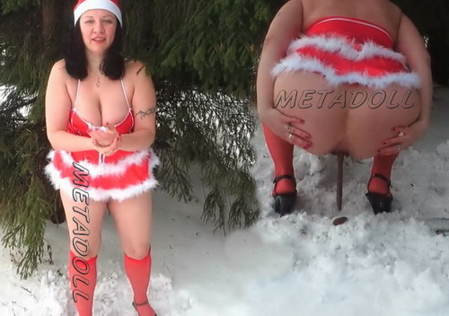 Snow Maiden with big boobs defecate in the snow. Schoolgirl pooping and peeing after erotic striptease. (Pooping FE 168-172)